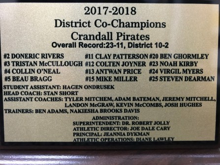 BB 2018 District champ plate
